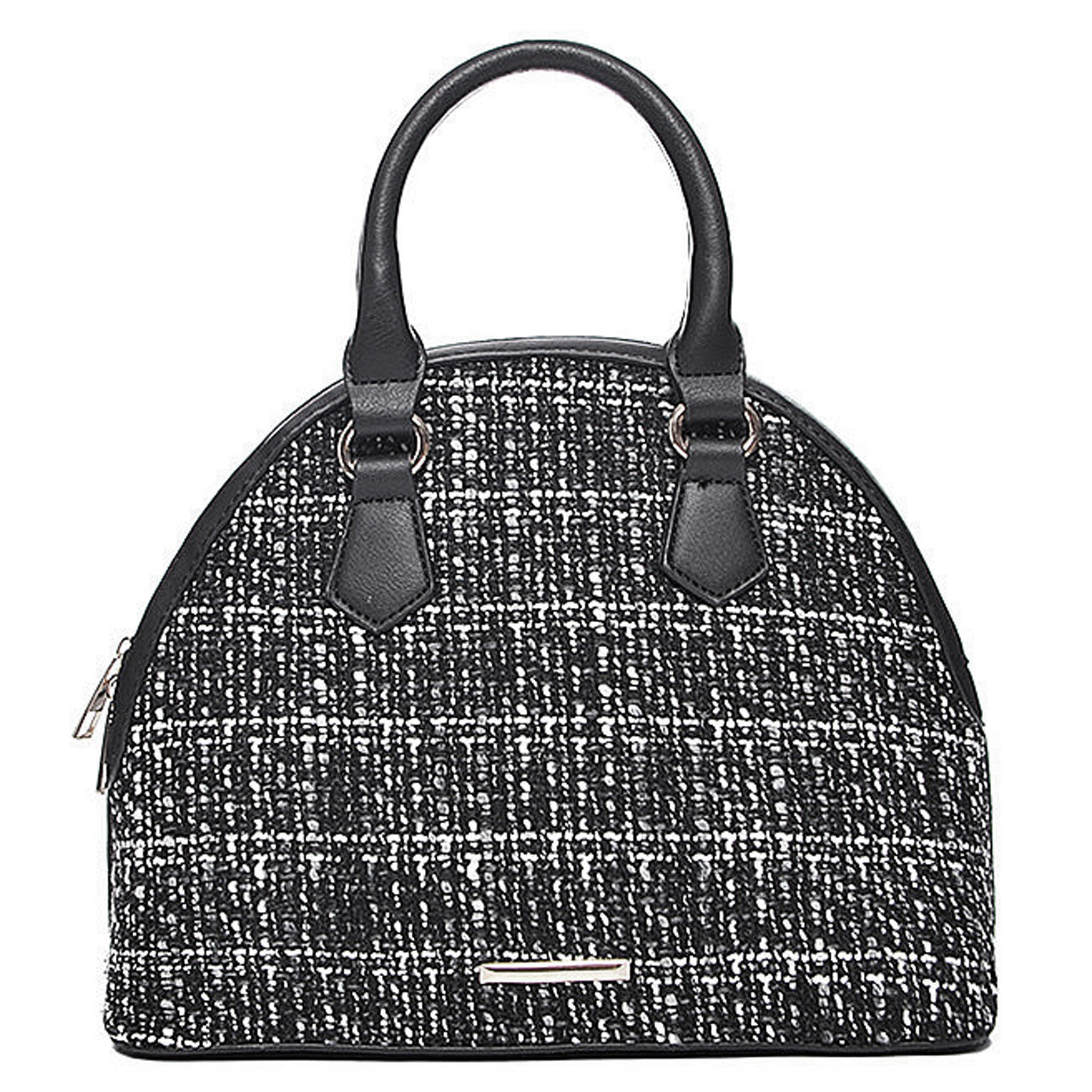 kleine damen handtasche tweed bowling tasche schwarz weiss. Black Bedroom Furniture Sets. Home Design Ideas
